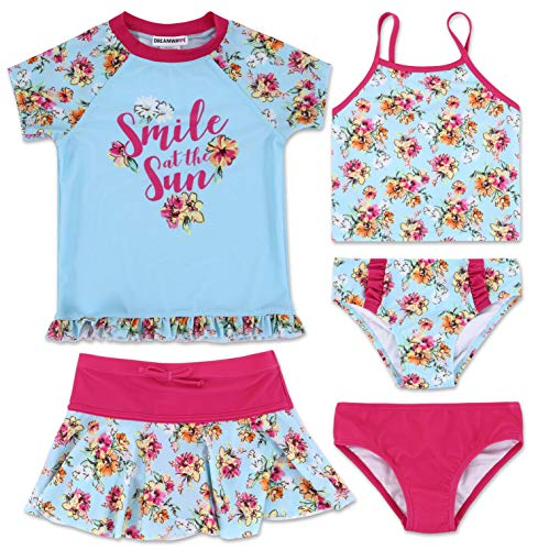 (Toddler Girl Floral 5 Piece Mix and Match Swimsuit Set)