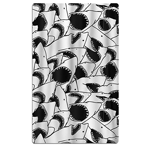 FSKDOM Animal Black And White Sharks Double Jacquard Premium Beach Towel 40'' X 70'' Solid by FSKDOM