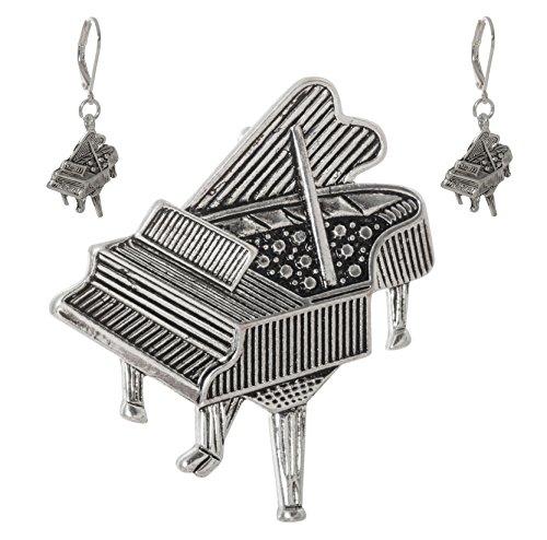 (Artisan Owl - Grand Piano Silver Tone Metal Dangling Earrings and Brooch Pendant Pin Set)