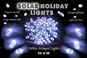 Solar Christmas Lights - 60 White LED String Complete with Solar Panel