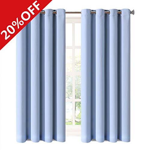 MEROUS Window Treatment Thermal Insulated Solid Grommet Blackout Curtains / Drapes for Bedroom (Set of 2 Panels,5284inch,blue)