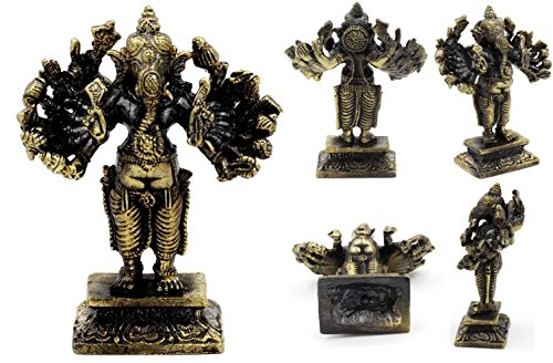 Brass Lord Ganesha om Buddhist Hindu Religious wealth luck and success size 7.5 cm. with Special Gift by ThaiAmulet