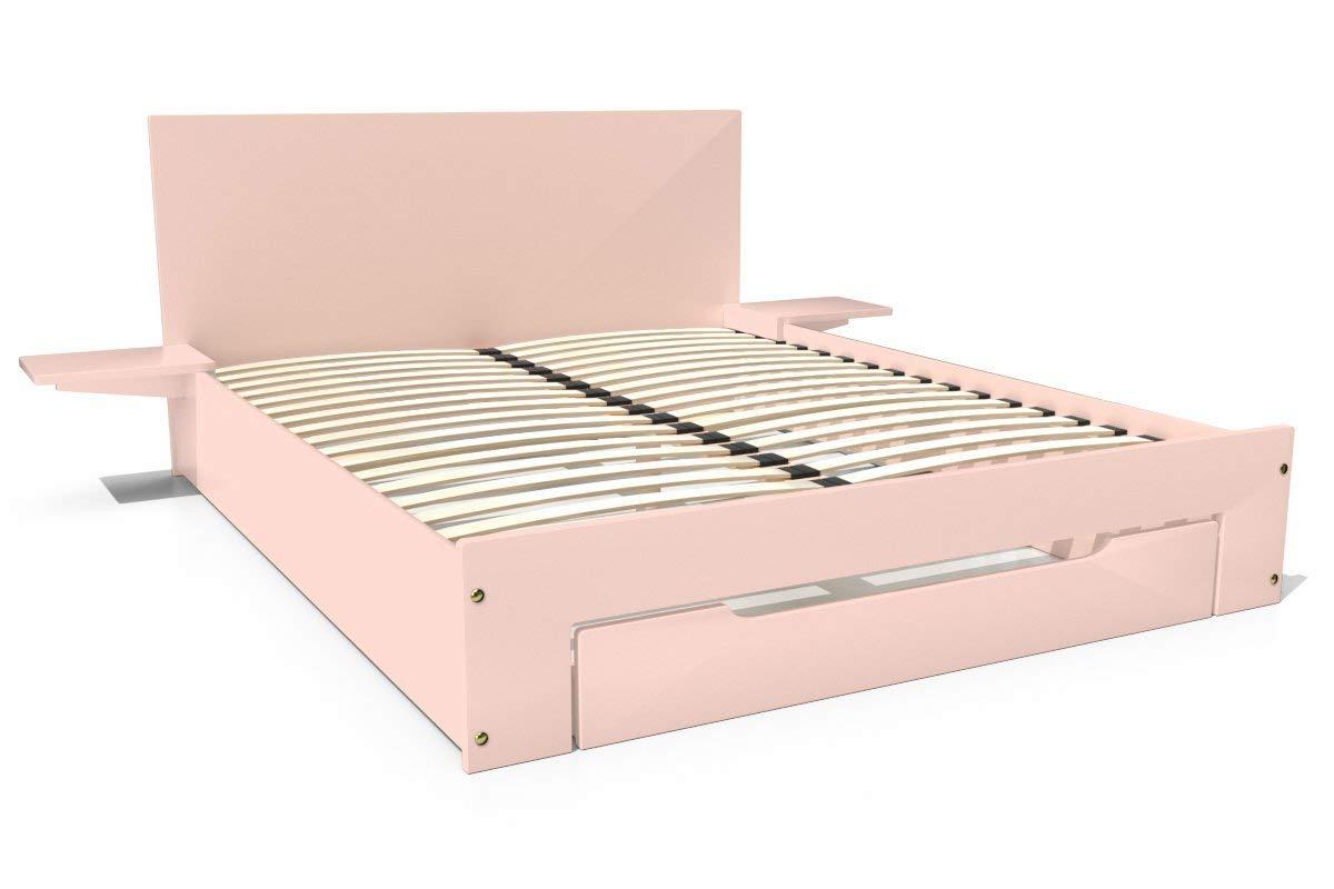 ABC MEUBLES - Bett Happy + Schublade + Nachttische - HAP - Pastellrosa, 160x200