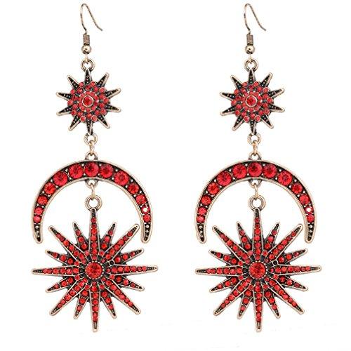 HSWE Crystal Earrings Star and Moon Dangle Earrings Hook Wedding Party Bridal Drop Earrings Jewelry (Antique Gold) Antique Red Gold Earrings