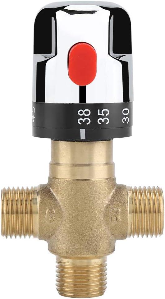 Válvula de ángulo de baño Válvula mezcladora termostática de latón macizo G1 / 2 para el sistema de ducha Control de la temperatura del agua Control del termostato de la cuenca del tubo