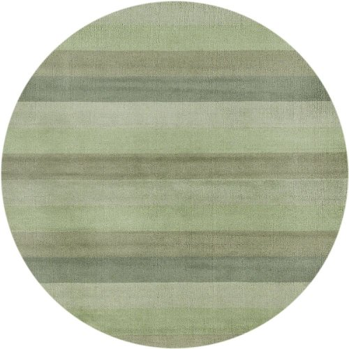 St Croix Trading Solid/Striped Round Area Rug 8' Green Aspect Collection