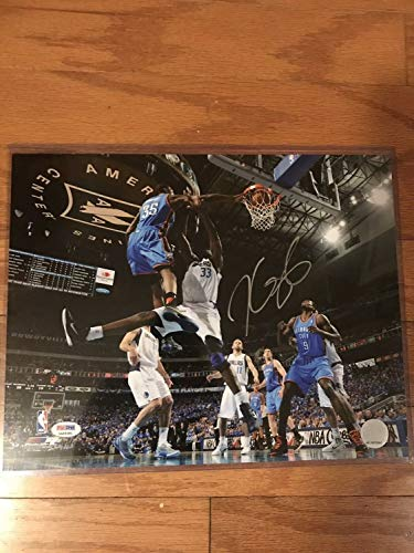 (Kevin Durant Warriors Thunder Autographed Signed Memorabilia 11x14 Photo Coa PSA/DNA Dunk Silver Ink)