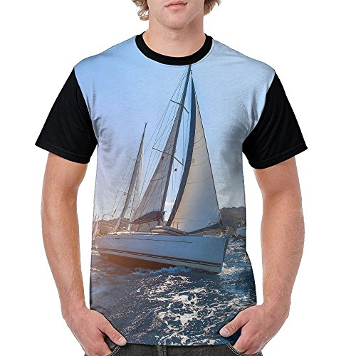 ZhiqianDF Mens Luxury Yachts At Sailing Regatta Sailing In The Wind Through The Waves At The Sea Funny Hiking Black Shirt XL Short Raglan - Pack Sixers Family