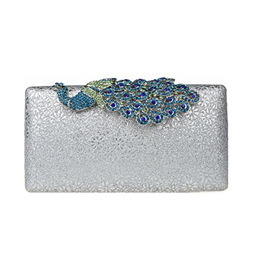Purse Luxury KAXIDY Silver Silver Buckle Bags Peacock Shining Evening Wedding Crystal Clutch Clutch Ladies Purse Og5wq5r0x