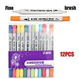 Inverlee Back to School Supplies, Dual Tip Brush Marker Pens Pen for Adults Children Painting Water Color Pen (12Pcs)