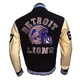 Beverly Hill Cop Detroit Lions Letterman Leather Sleeves Vintage Jacket (XX-large)