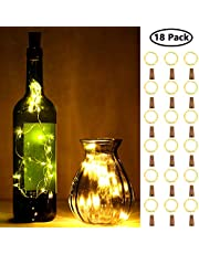 18 Pieces Bottle Lights 20 LEDs Bottle Cork String Lights Battery Operated Wine Cork Lights Warm White Fairy String Lights for Bedrooms Wedding Christmas Halloween Parties, 2 Meters Long