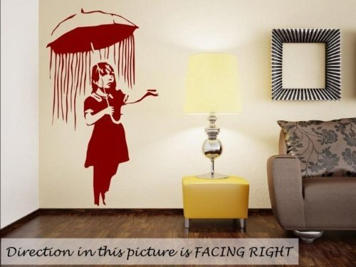 Banksy Girl with Umbrella wall sticker (Large: 60cm x 100cm / 24'' x 40'')