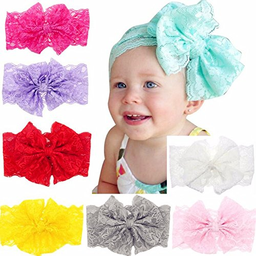 CellElection 8pcs/lot 5 inches Large Huge Big Princess Lace Hair Bows Headbands Hair Bands Acessories for Girls Baby Kids Teens