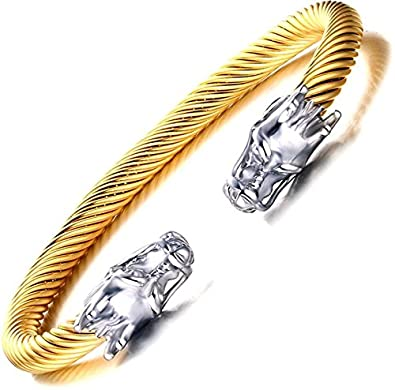 Towlimss Hip Hop 10MM Titanium Steel Dragon Cuffs Bracelet