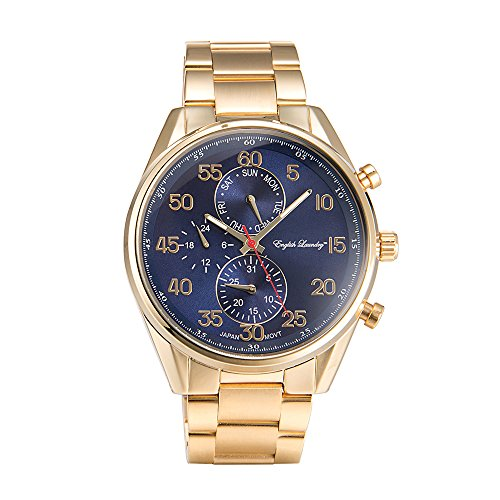 English Laundry Men's Watch EL7956G236-474 Gold Tone, Blue Dial, (Gold Tone Blue Dial)