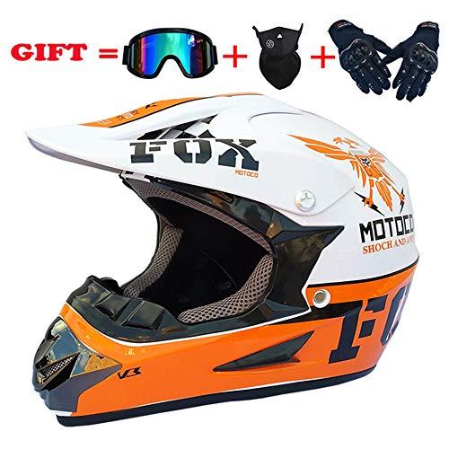WWtoukui Fashion Eagle Motocross Helmet, Motocross Locomotive Road Race Rider Full Face Helmet, DOT Certified Helmet (4 Pieces) Orange Plus White,L:58~59cm