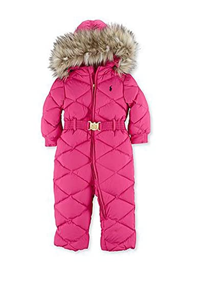 9983587e841f Amazon.com  Ralph Lauren Baby Girls Pink Hooded Down Feather Furr ...