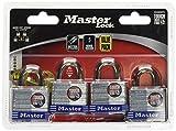 Master Lock Padlock, Laminated Steel Lock, 1-9/16 in. Wide, 3008D (Pack of 4-Keyed Alike)