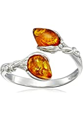 Sterling Silver By Pass Amber Ring, Size 7