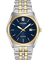 Citizen Corso Men's Quartz Watch with Blue Dial Analogue Display and Silver Stainless Steel Plated Bracelet BM7334-58L