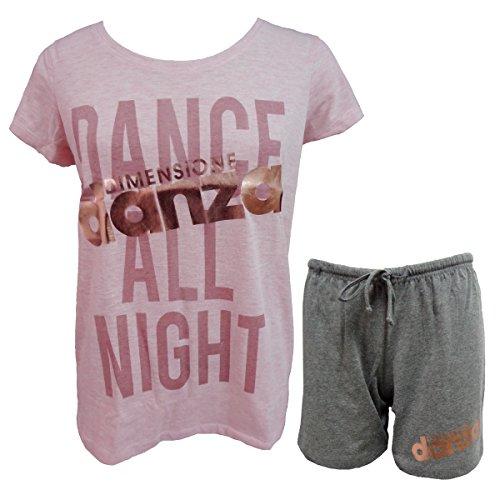 pigiama art mezza danza DD20026 50 XXL rosa manica cotone in donna corto dimensione AU5RZqn