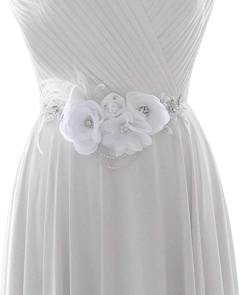 Azaleas White Flower Belts Diamond Belt for Wedding Pearl Belt Wedding Belts and Sashes(S478)
