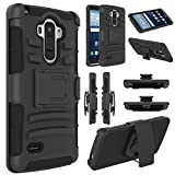 LG G Stylo Case, EC Hybrid Holster Case, Dual Layers Armor Case with Kickstand and Locking Belt Swivel Clip for LG G Stylo/LG G4 Stylus/ LG LS770 (Black)