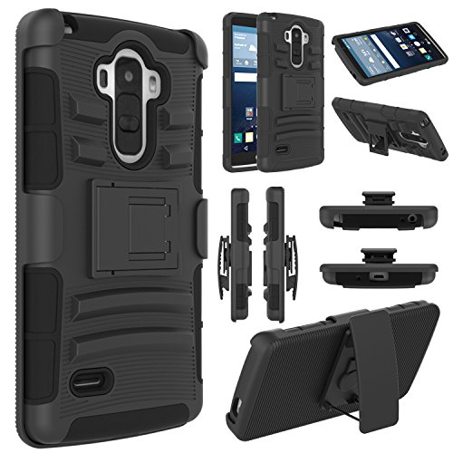 LG G Stylo Case, EC™ Hybrid Holster Case, Dual Layers Armor Case with Kickstand and Locking Belt Swivel Clip for LG G Stylo/LG G4 Stylus/ LG LS770 (Black)