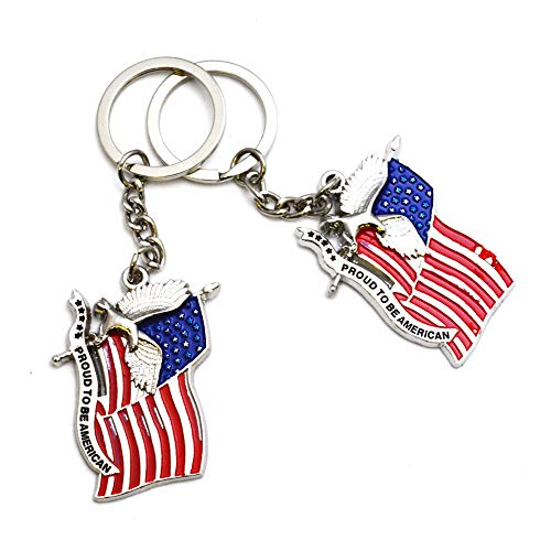 12pcs US Flag Metal Key Ring American Eagle Key Chain USA NYC Souvenirs - Set of 12 (C502)