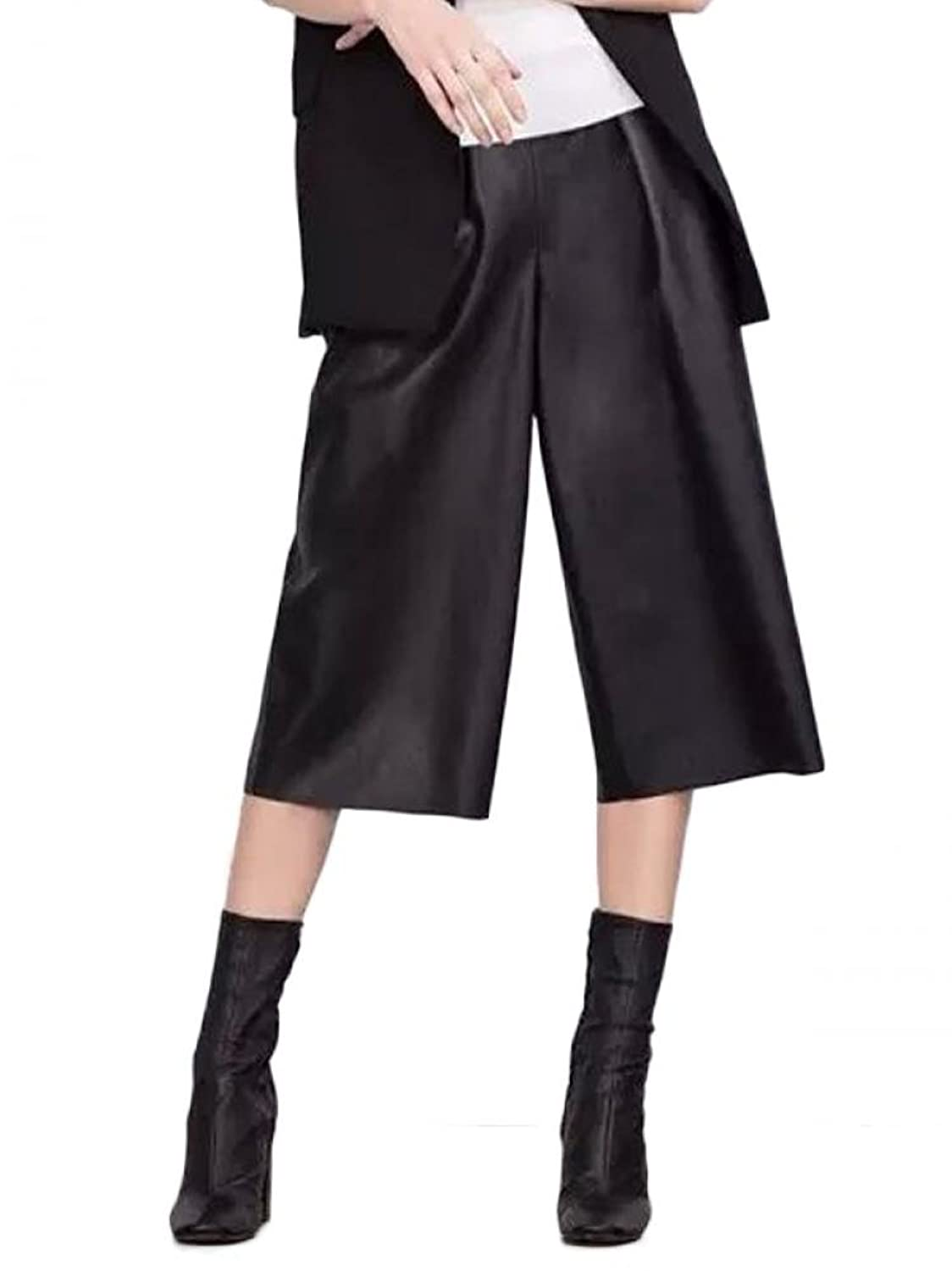 Lingswallow Women's Casual Faux Leather High Waist Wide Leg Palazzo Pants