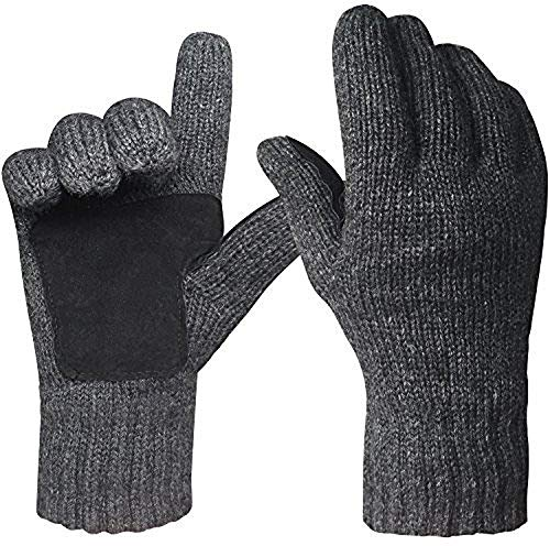 Justay Mens Winter Gloves Cold Weather Knit Gloves Thermal Fleece Lined Mittens