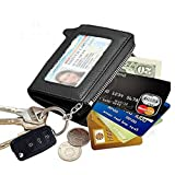 Edmen Zipper Key Wallet Leather Credit Card Case Coins Purse with ID Window for Women Men(Black)