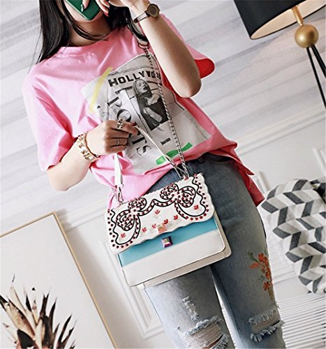 Shoulder Rrock Handmade Chain Embroidery Colors Flower Bag Women's Four Fashion White Handbag Bag Messenger vZ6nrxXZw