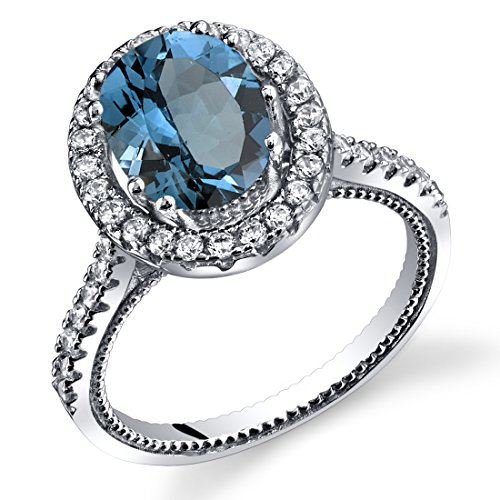 Blue Topaz Milgrain Ring - Peora London Blue Topaz Halo Milgrain Ring Sterling Silver 2.25 Carats Size 8