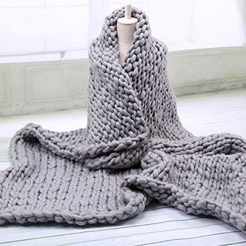 Smartcoco Handmade Knit Acrylic Blanket Throw Chunky Bulky Sofa Throw for Gift Sofa Bed, 24