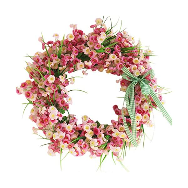 Calcifer 13.78 Inch Artificial Garland Silk Flower Wreath Hanging Flowers Roses for Front Door, Wall, Home, Garden,Wedding,Party Decoration (Pink)