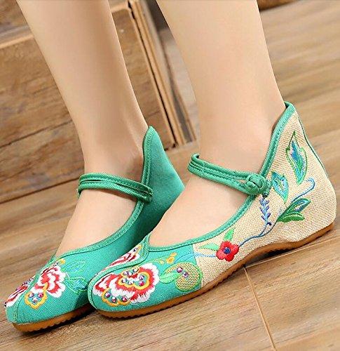 Femmes green Chaussures Main Chaussures KHSKX Folklorique Beijing Du De Style Vieux Brodé La Chaussures Tissu Chaussures 8wYBqZgY