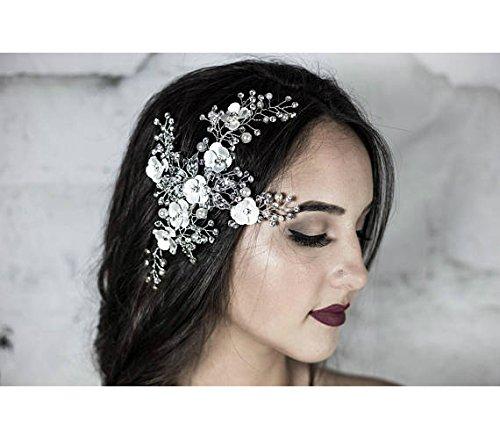 Amazon Com Bridal Hair Comb Silver Floral Headpiece Wedding