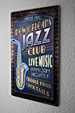 Tin Sign Travel Kitchen Jazz New Orleans