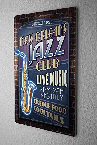 Tin Sign Travel Kitchen Jazz New Orleans by LEOTIE