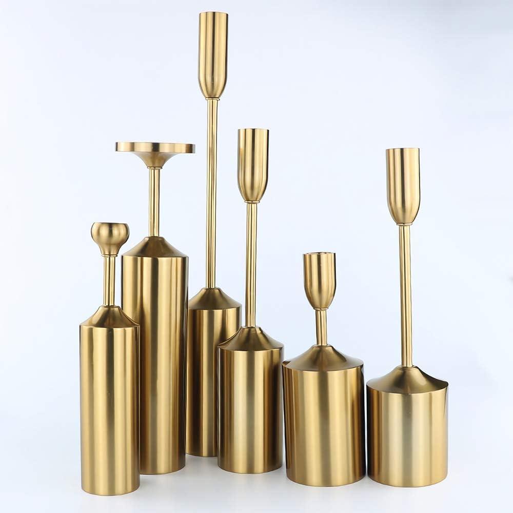 Vincidern Iron Candle Holder Centerpieces Set of 6, Brass Gold Vintage Decoration Candlestick Holder Centerpiece for Dining Table, Home Decor, Wedding, Party, Mantel Candelabras