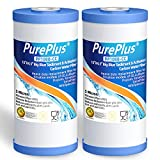 PUREPLUS 5 Micron 10' x 4.5' Whole House Big Blue Sediment and Activated Carbon Water Filter Replacement Cartridge Compatible with GE FXHTC, GXWH40L, GXWH35F, GNWH38S, 2-Pack