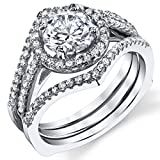 3 in 1 Sterling Silver Engagement Ring Bridal Set Band with 1 Carat Round-Cut Cubic Zirconia CZ