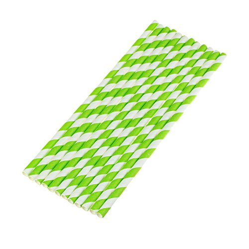 (vLoveLife 25pcs Light Green & White Biodegradable Paper Straws Striped Drinking Straws for Valentine's Day Wedding Birthday Party Celebrations Baby Shower Drinking Decoration Favors)