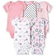 Gerber Baby Girls 5 Pack Onesies, Elephants/Flowers, 6-9 Months