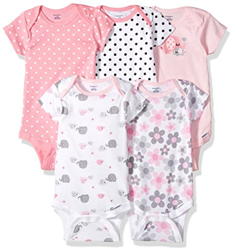 (Gerber Baby Girls' 5-Pack Variety Onesies Bodysuits, Elephants/Flowers, 6-9 Months)