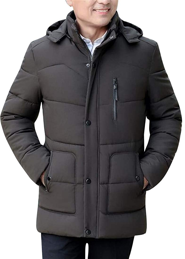 WAWAYA Men Thermal Zip Up Hooded Winter Down Quilted Puffer Jacket Coat Outerwear