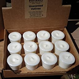 24 Unscented Soy Votive Candles By Soyworx