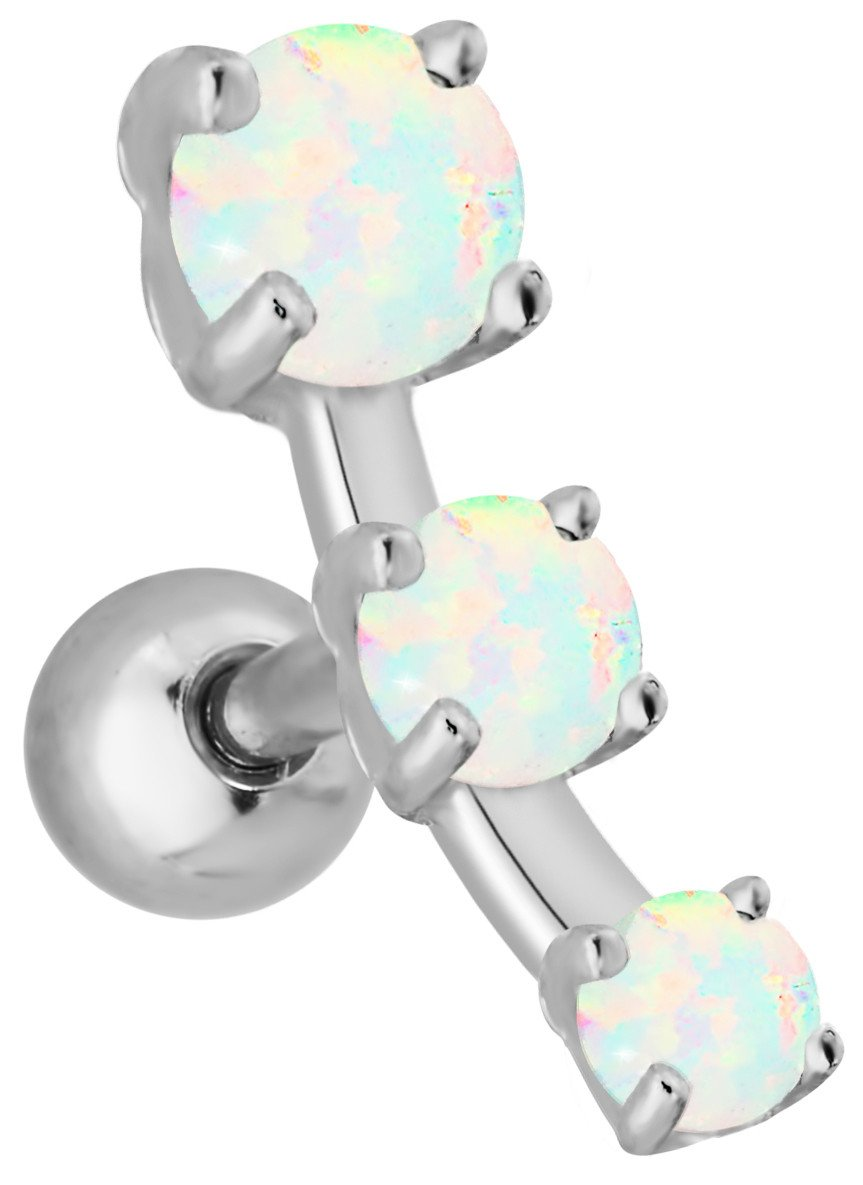 16g 3-Stone Simulated Opal Cartilage Stud Earring